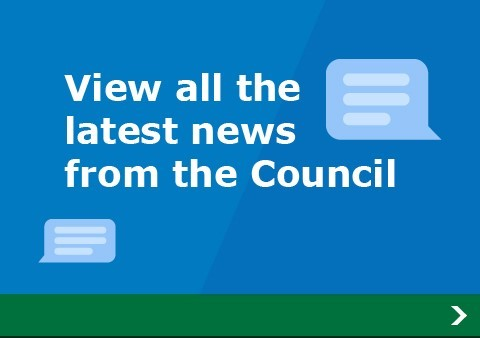 Speech bubbles with the slogan - View all the latest news from the council